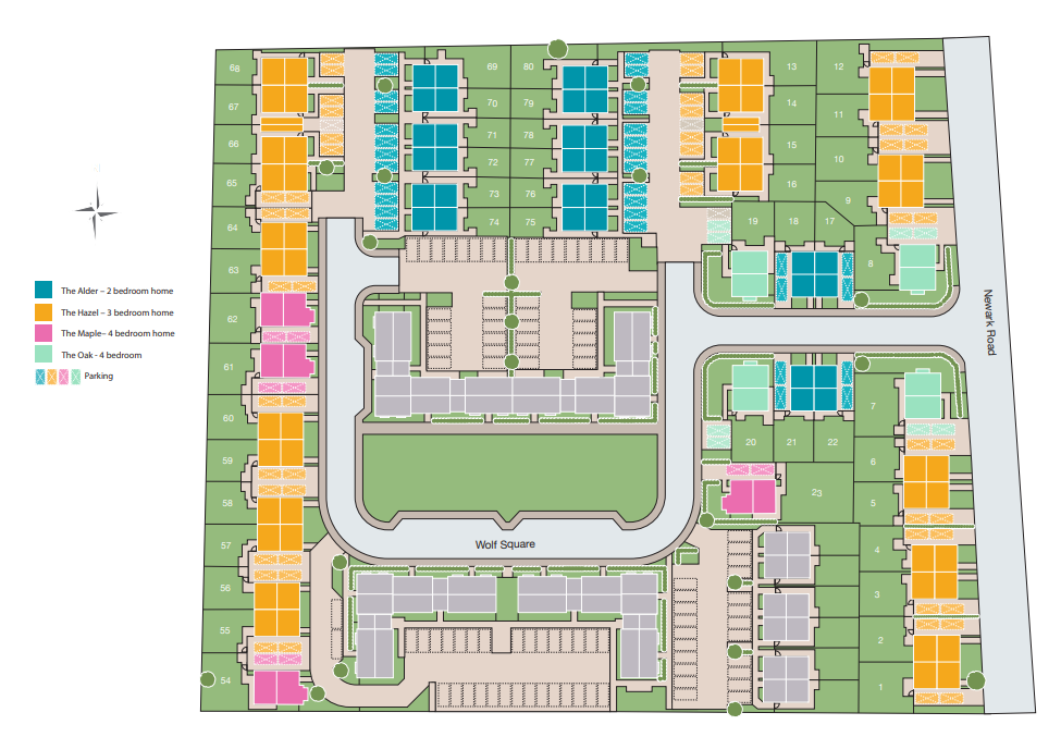 Wolf Square development plan showing plots