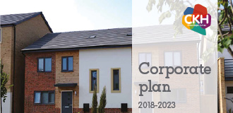 Front cover of CKH corporate plan 2018 - 2023 showing a new home