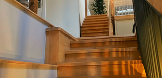 There is a wooden staircase