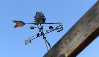 There is a metal weather vane pointing south