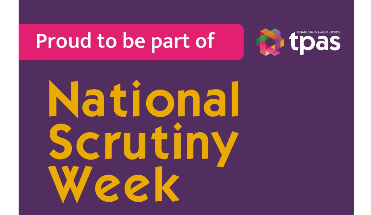 Image shows tpas logo and the words Proud to part of National Scrutiny Week