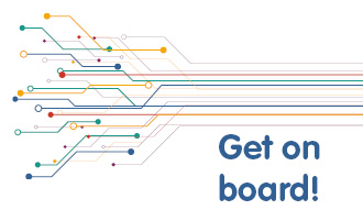 Image shows a design of lines, similar to a tube map, and the words Get on Board!