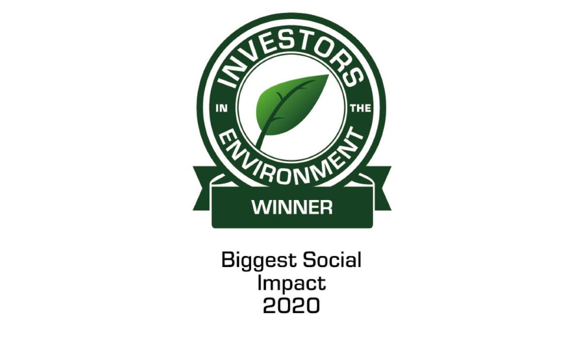 Image shows Investors in the Environment award logo with the words Biggest Social Impact 2020 below