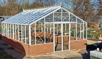 Image shows the large new greenhouse.