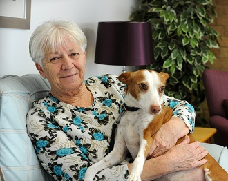 image-Older lady with dog - card.jpg